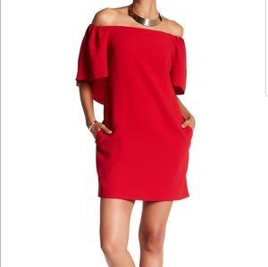 Trina Turk Off The Shoulder Cape Dress Red